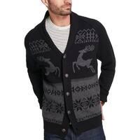 Weatherproof Vintage Mens Reindeer Cardigan Sweater Button-Down Graphic