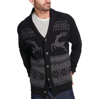 Weatherproof Vintage Mens Reindeer Cardigan Sweater Button-Down Graphic