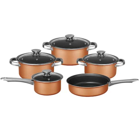 Brentwood 9 Piece Non Stick Cookware Set in Copper - 8' x 11'