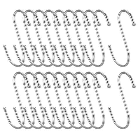 "Metal S Hooks 3.94"" S Shaped Hook Hangers for Kitchen Multiple Uses 20pcs - White - 3Pack"