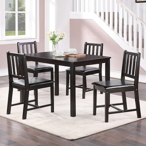 """Modern Rustic Rectangle Coffee Rubber Wood Dining Table Set of 5 - L42.5""""*W25.5""""*H29"""""""