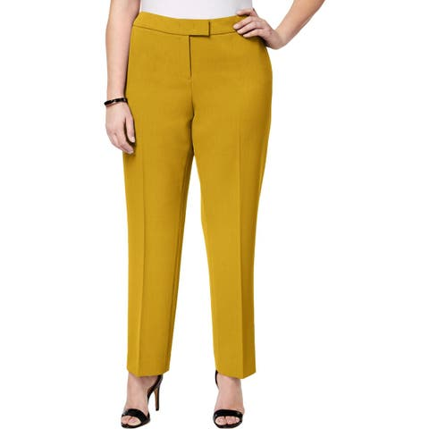 Anne Klein Womens Plus Straight Leg Pants Crepe Office Wear