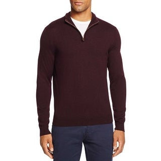 Bloomingdales Mens Merino Wool Half Zip Mock Neck Sweater Small Raisin Knitewear