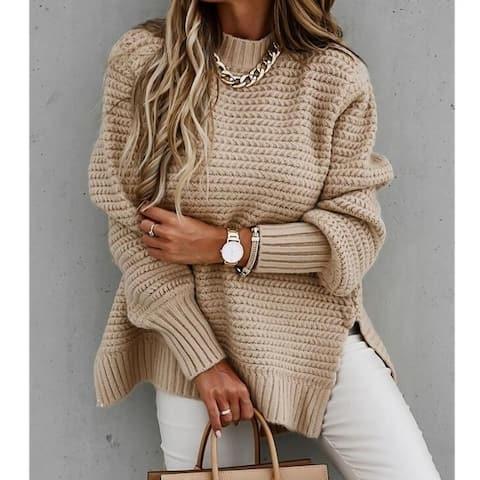Half Turtleneck Slit Knit Sweater