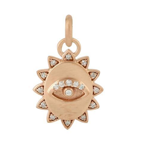 14k Rose Gold Diamond Evil Eye Pendant Handmade Wholesale Jewelry