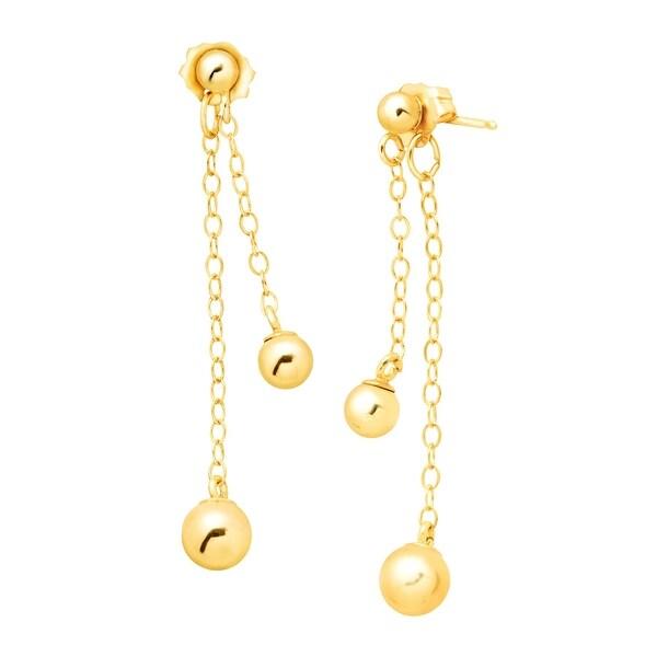 Eternity Gold Ball Drop Earrings in 10K Gold