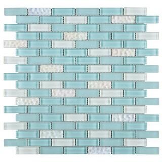 "TileGen. Small Brick 1/2"" x 2"" Glass Tile in Baby Blue Wall Tile (10 sheets/9.8sqft.)"