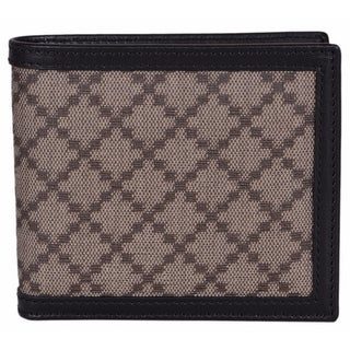 "Gucci Men's 225826 Beige Black Canvas Leather Diamante Bifold Wallet - 4.25"" x 3.5"""