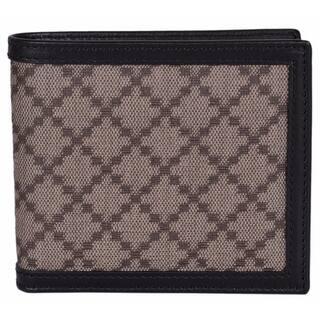 Gucci Men S 225826 Beige Black Canvas Leather Diamante Bifold Wallet 4 25