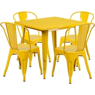 Brimmes 5pcs Square 31.5'' Yellow Metal Table w/4 Stack Chairs