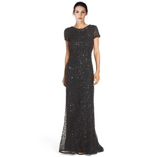 Adrianna Papell Petite Sequined Scoop Back Short Sleeve Evening Gown Dress - 2p