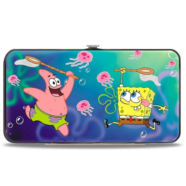 Patrick Starfish & SpongeBob Jellyfishing + Jellyfish Catch Pose Hinged Hinge Wallet - One Size Fits most