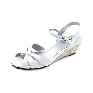 Trotters Mickey Women Open Toe Leather White Wedge Heel