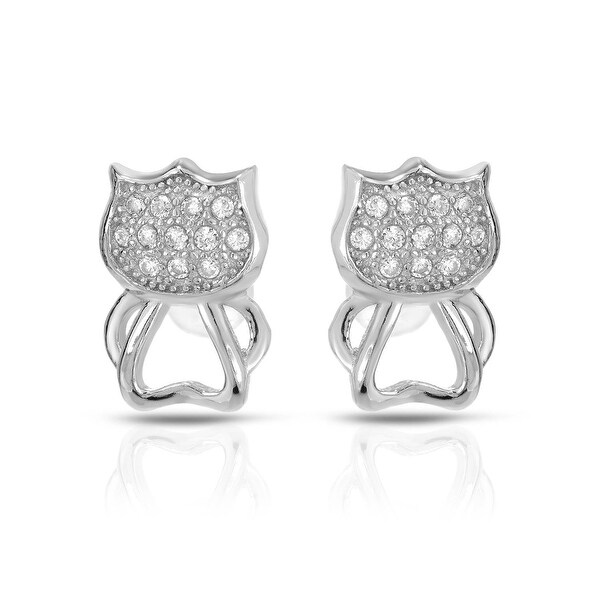 Mcs Jewelry Inc STERLING SILVER 925 PAVE CAT EARRINGS WITH CUBIC ZIRCONIA 10.5MM