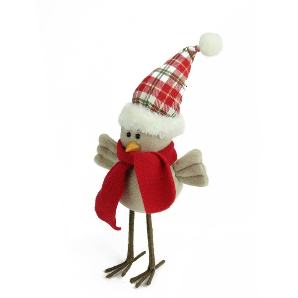 "10"" Cream Standing Bird with Scarf and Plaid Hat Christmas Tabletop Decoration"