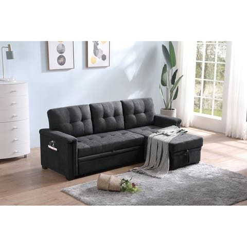 Ashlyn Woven Fabric Sleeper Sectional Sofa Chaise with USB Charger and Tablet Pocket