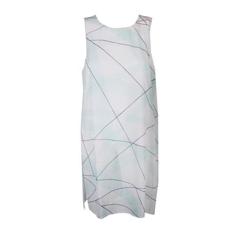 Alfani White Aqua Print Sleeveless Illusion-Overlay Tunic Top 10