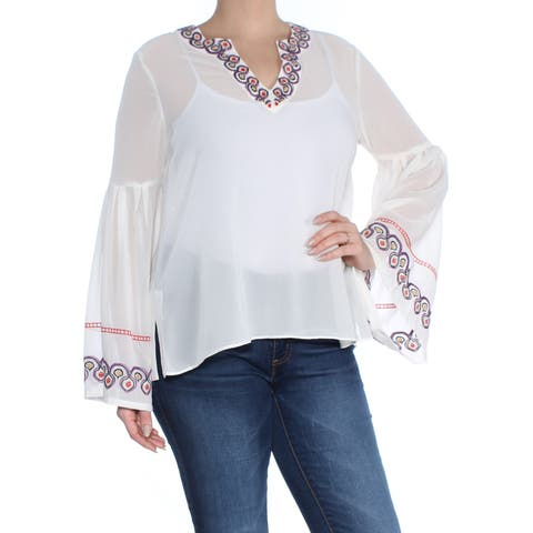 CATHERINE MALANDRINO Womens White Embroidered Bell Sleeve V Neck Peasant Peasant Top Size: L