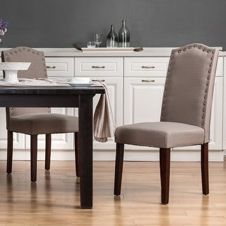 Link to Glitzhome Tan Fabric Studded Decoration Dining Chairs Similar Items in Kitchen & Dining Room Chairs