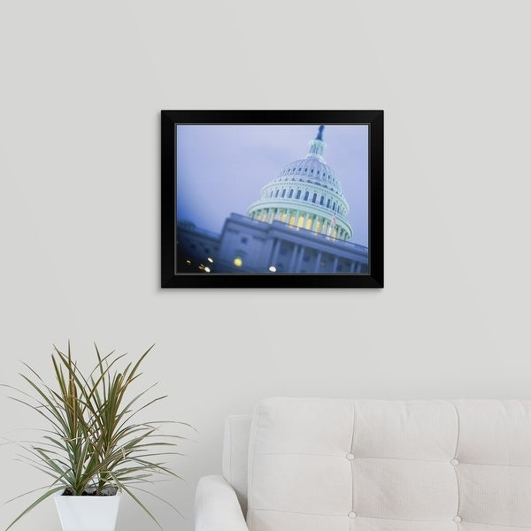 """""""Low angle view of a government building, Capitol Building, Washington DC"""" Black Framed Print"""