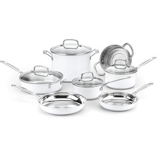 Cuisinart Chef's Classic Stainless Color Series 11-Piece Cookware Set, White