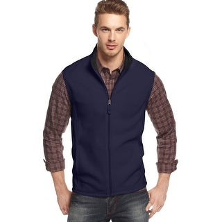 Club Room Full Zip Polar Fleece Mockneck Vest Navy Blue Solid