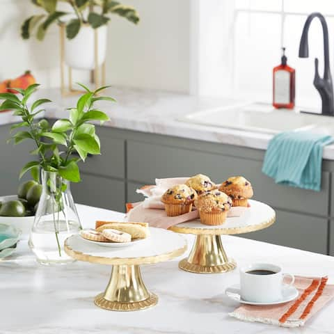 Wood Natural Cake Stand (Set of 2) - 10 x 10 x 5Round