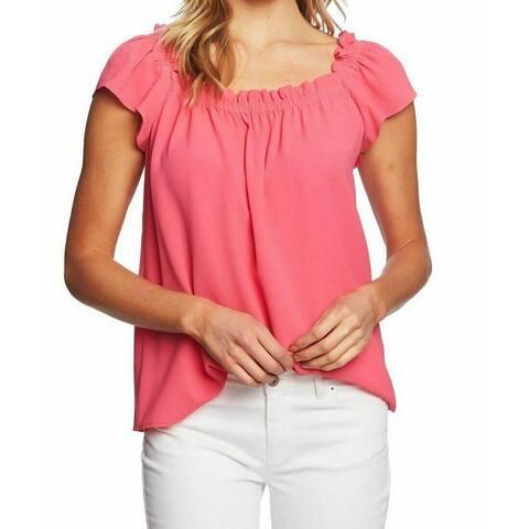 CeCe Women's Blouse Flamingo Pink Size Large L Square Neck Textured