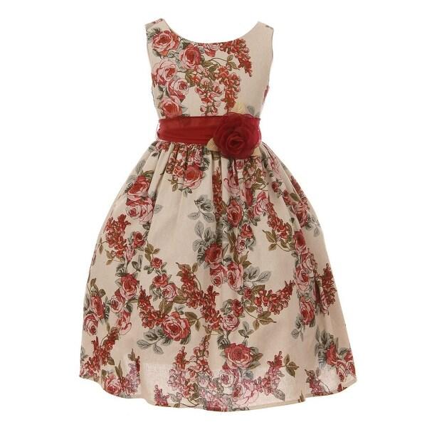 8d1f4d8a35961 Shop Just Kids Girls Champagne Flower Print Linen Elegant Easter ...