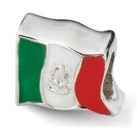Sterling Silver Reflections Mexico Flag Bead (4mm Diameter Hole)