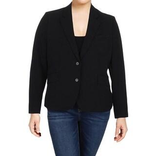 Anne Klein Womens Two-Button Blazer Textured Notch Collar