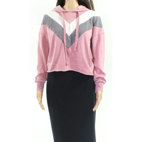 Pink Rose Pink Multi Womens Size Small S Chevron Hoodie Sweater