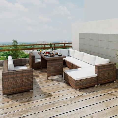 vidaXL Outdoor Dining Lounge Set 28 Piece Wicker Poly Rattan Brown Garden Sofa