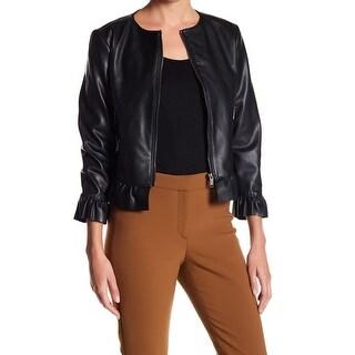 Catherine Malandrino NEW Black Women Size 2 Pleather Ruffle Trim Jacket