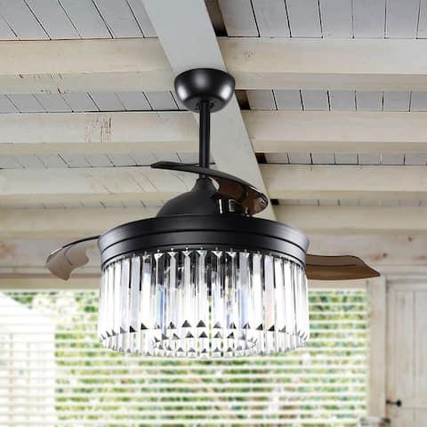 Black 42-inch Crystal Fandelier 3-Blade Ceiling Fan with Remote
