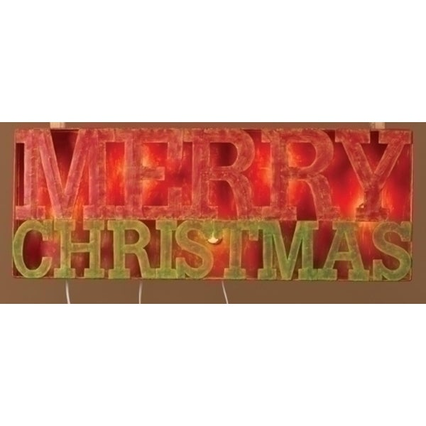 "33"" Lighted Distressed ""Merry Christmas"" Outdoor Decoration Sign - RED"