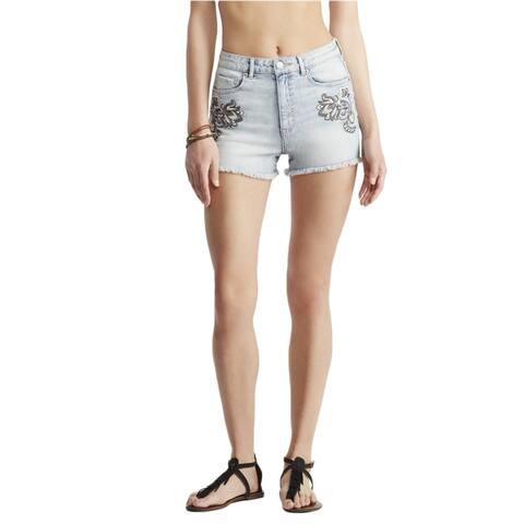 Aeropostale Womens High-Waisted Shorty Casual Denim Shorts, blue, 000 Size