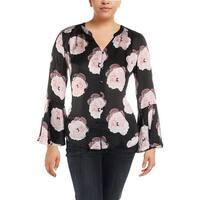 Tahari ASL Womens Petites Button-Down Top Crepe Floral Print