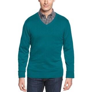John Ashford Tarnished Teal Solid Cotton V-Neck Sweater Pullover