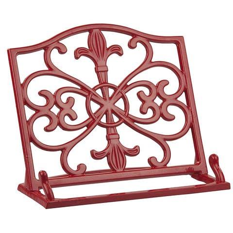 Home Basics Cast Iron Fleur De Lis Cookbook Stand, 10.5x5.5x9 Inches, Red