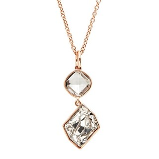 Organic Shapes Pendant With Swarovski Crystals in Rose Gold-Plated Sterling Silver - White