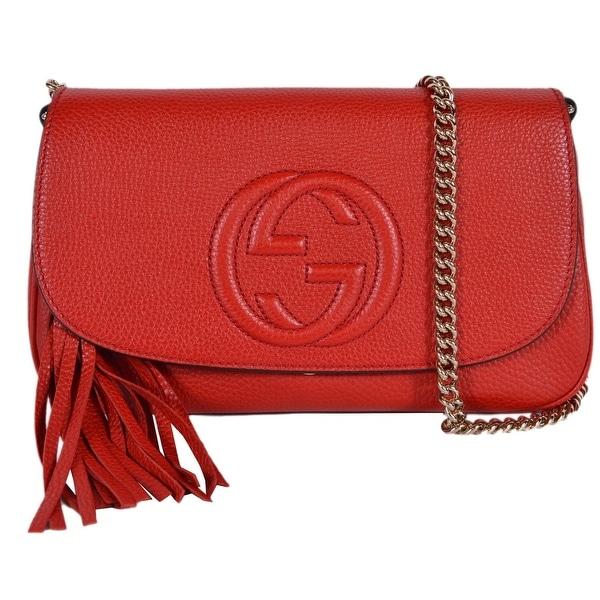 31bab5b080e2 Shop Gucci 536224 Red Leather SOHO Tassel Crossbody Purse Handbag ...
