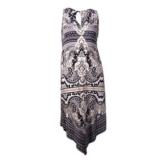 International Concepts Women's Printed Deep V-Neck Dress (XL, Medley Paisley) - xL