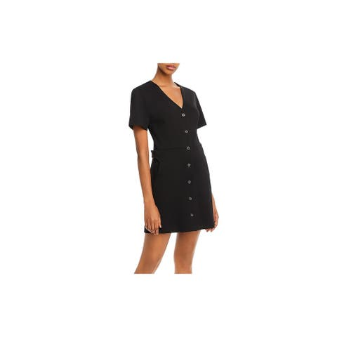 JOIE Womens Black Short Sleeve V Neck Short Shirt Dress Dress Size S