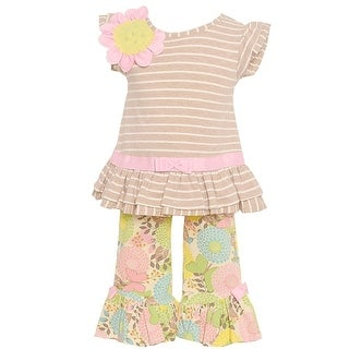 Rare Editions Baby Girls Taupe Stripe Floral Accented 2 Pc Pant Outfit