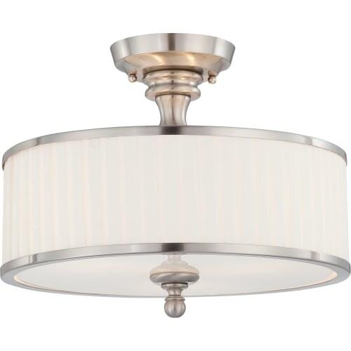 "Nuvo Lighting 60/4737 Candice 3 Light 15"" Wide Semi-Flush Drum Ceiling Fixture"
