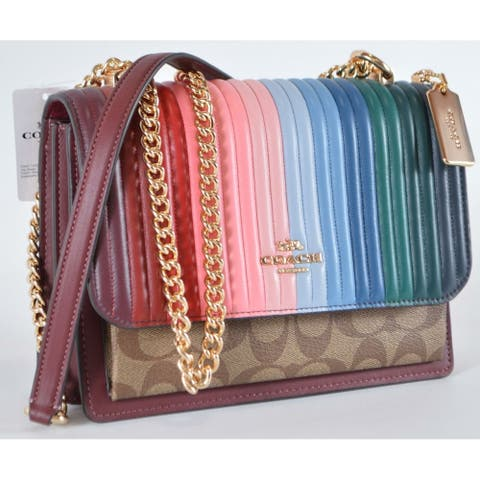 Coach C1446 KLARE Quilted Linear Rainbow Leather Crossbody Purse Bag