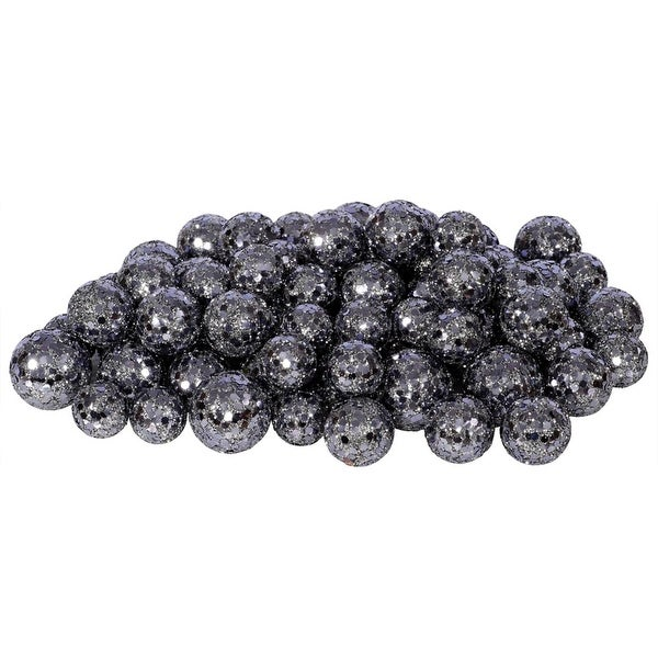 "60ct Slate Gray Sequin and Glitter Christmas Ball Decorations 0.8"" - 1.25"""