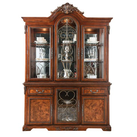 Traditional Hutch and Buffet Set with 6 Doors and 2 Drawers, Brown