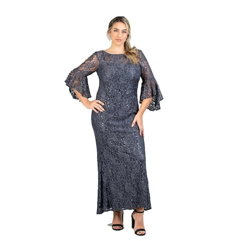 R & M Richards Bell Sleeve Lace Plus Size Dress
